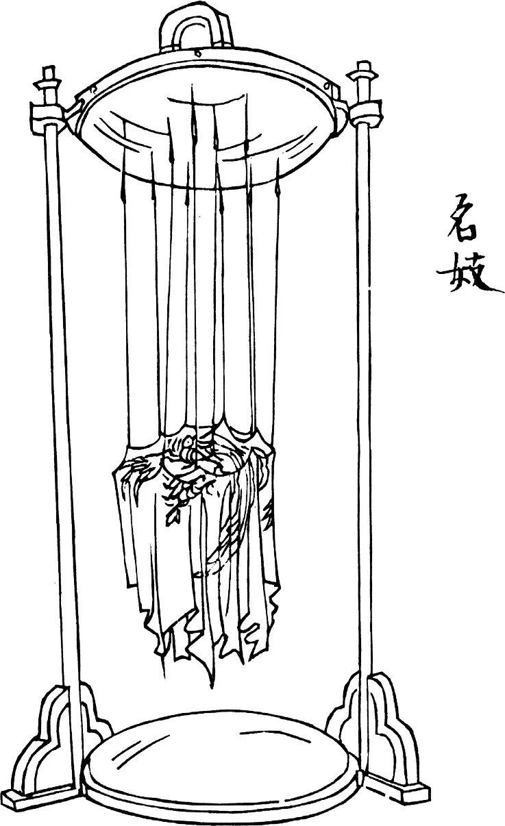 不锈钢框架上端面朝下的镜面背后藏有磁铁。织锦绣片上连出各色丝线。丝线的尽头是钢针,针尖因磁力作用顶在镜面上。绣片图案是鹦鹉。
