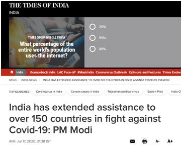 《印度时报》:莫迪说,印度已经向150多个国家提供了抗疫援助