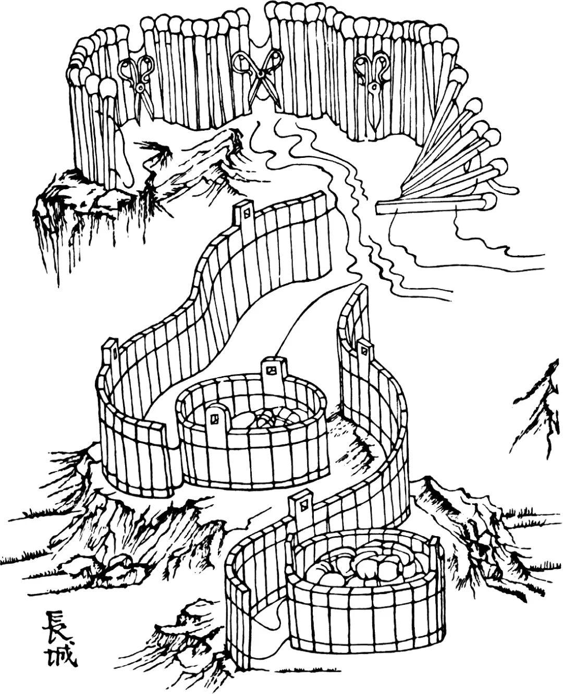 成组的火柴状木棍靠穿过它们的绳子拉紧成为密实的墙体,此时连接火柴棍的剪刀合拢。绳子放松则剪刀张开。另一组板状木块通过绳子可以连接成木桶。