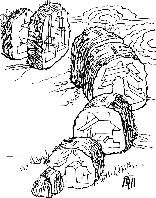 一块长条石头切分为很多段,每段之内镂空雕刻出庙宇建筑的负形,依照庙宇建筑形制从山门到大殿到后山塔林。每段石块顶端开小投币口,使之成为扑满。将各段石块拼合成整石,在内部空间中焚香、种菜、养殖蜗牛。
