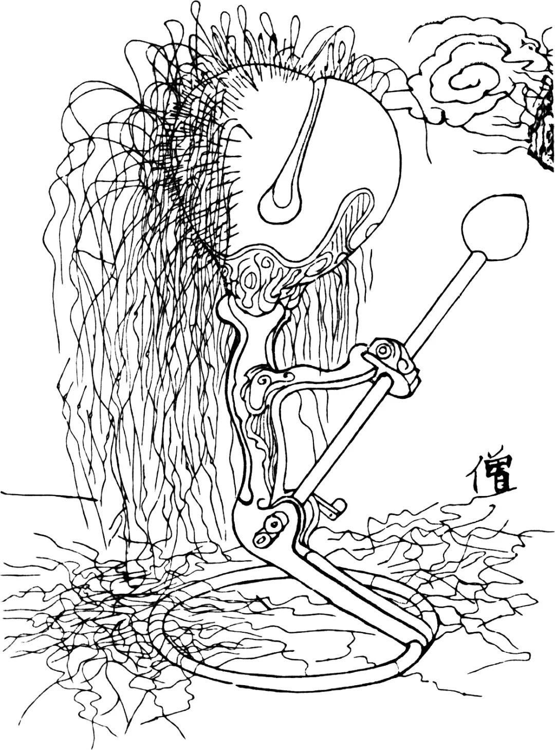 一个自动敲木鱼装置。木鱼上扎满钢针,钢针后连接头发丝。随着敲打木鱼,钢针逐渐被震动掉落。