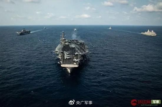 资料图:美国海军西奥多·罗斯福号航母战斗群在南海海域航行