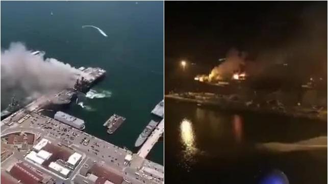 从日烧到夜 实拍美国军舰起火爆炸救援现场