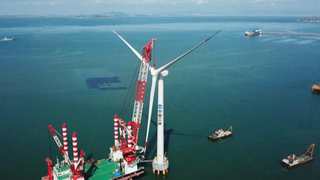 国内首台10兆瓦海上风机并网发电 可满足2万个三口之家用电需求