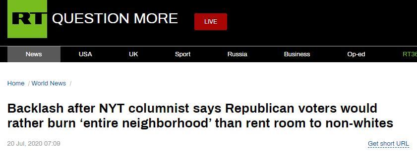 【国人国产亚洲香蕉精彩视频】_《纽约时报》再刊争议文章:共和党白人选民宁可烧了房子也不租给有色裔