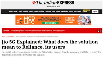 《印度快报》:Jio公司的5G分析,5G方案对该公司及其用户意味着什么