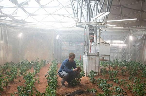 △电影《火星救援》中,落难的男主角正在种植土豆