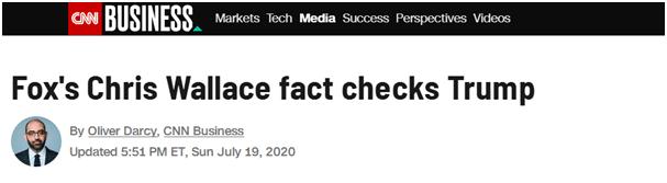 """CNN报道:福克斯的(主持人)克里斯•华莱士对特朗普进行""""事实核查"""""""