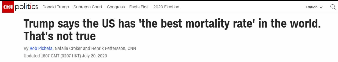 """【彩乐园登录进入12dsncom】_特朗普自夸""""美新冠死亡率世界最低"""" CNN:错得连边都不沾"""