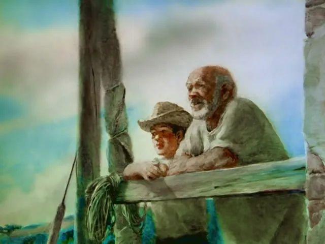 俄罗斯动画短片《老人与海》中的圣地亚哥与马洛林