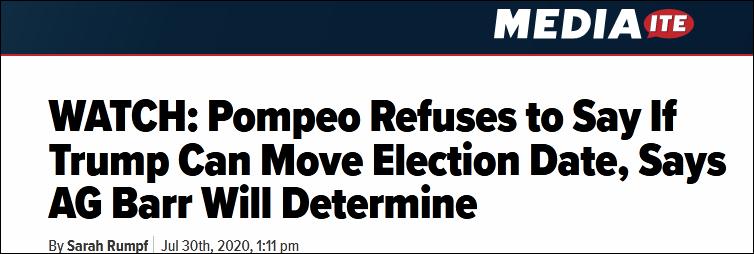 """惨不忍睹!为特朗普辩护""""推迟大选"""",蓬佩奥真的努力过了"""