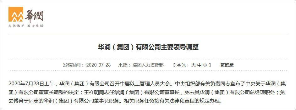 华润集团董事长傅育宁卸任