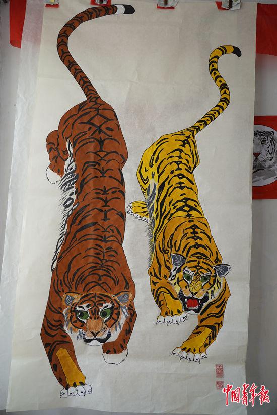 张杰画的老虎。