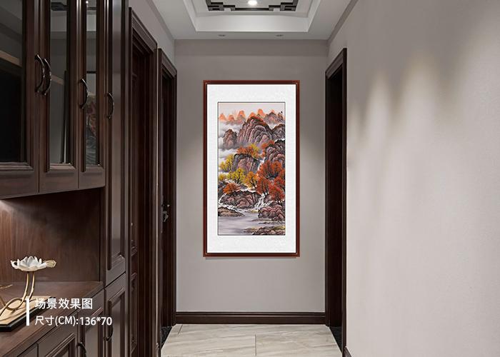 李国胜精品四尺竖幅山水画作品《万山红遍》 作品来源:易从网