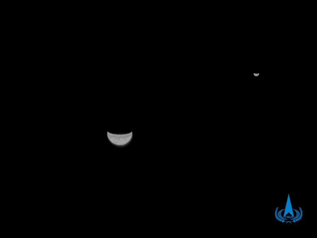 地月合影!天问一号探测器传回图像
