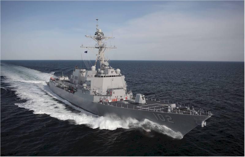 搭载宙斯盾系统的美军驱逐舰