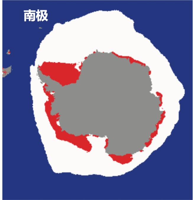 南极冰盖示意图:灰色代表陆地,上方即为冰盖。红色表示夏季海冰最小值,红色+白色表示冬季海冰最大值(1981-2010平均)|作者供图