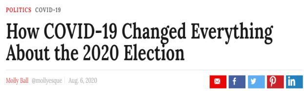 《时代》周刊:新冠病毒如何改变了2020年大选