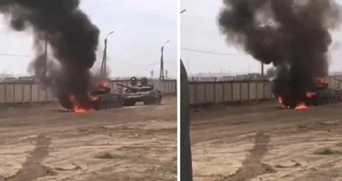俄军T72坦克爆炸起火 正在参加15万大军战备演习