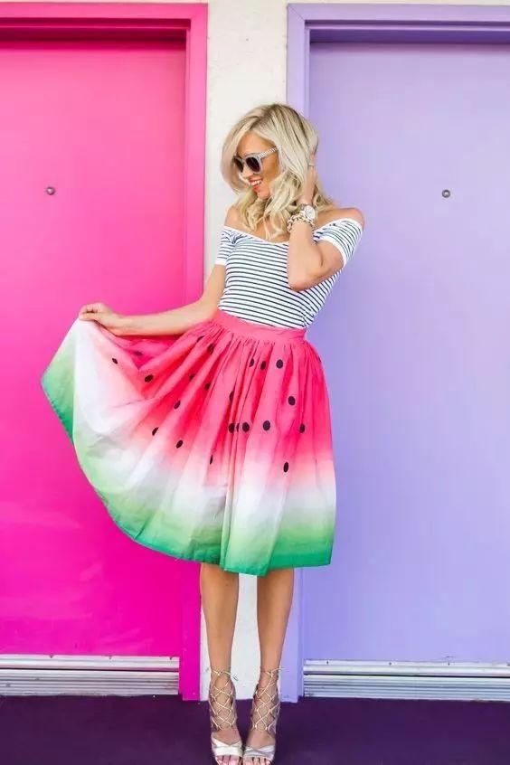 """""""油画裙""""什么的都弱爆了!现在时髦星人都把""""水果""""穿上身,美炸了!"""