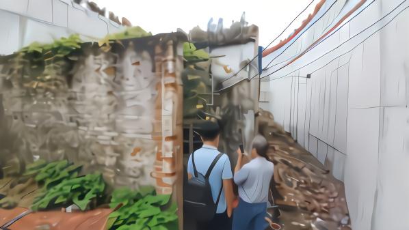 """广州""""被大桥包裏钉子户""""现状:凹位约一百平方米"""