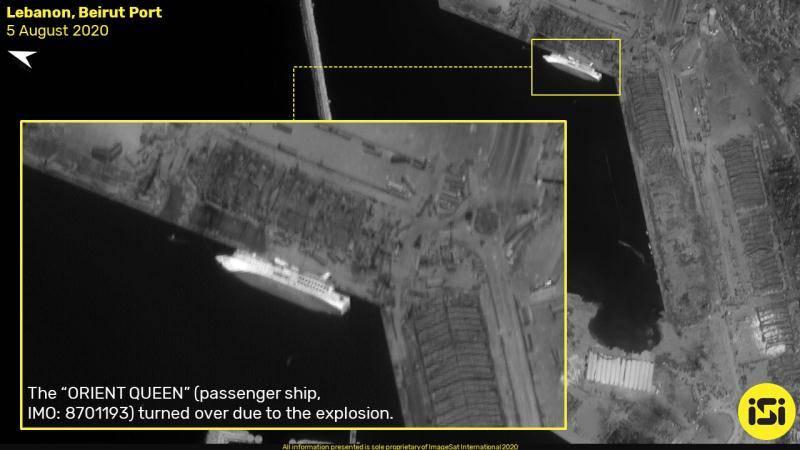 贝鲁特爆炸前后卫星图对比:港口出现直径140米大坑