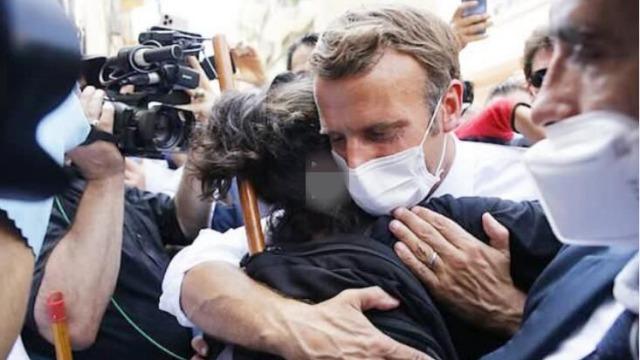 实拍!马克龙在黎巴嫩被包围 突然紧紧抱住一名女子