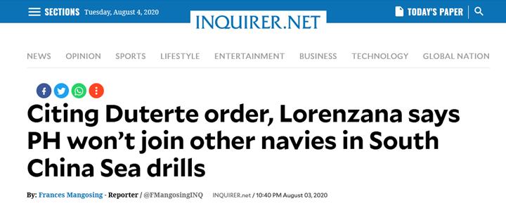 菲律宾防长:杜特尔特下令不得参与外国南海军演