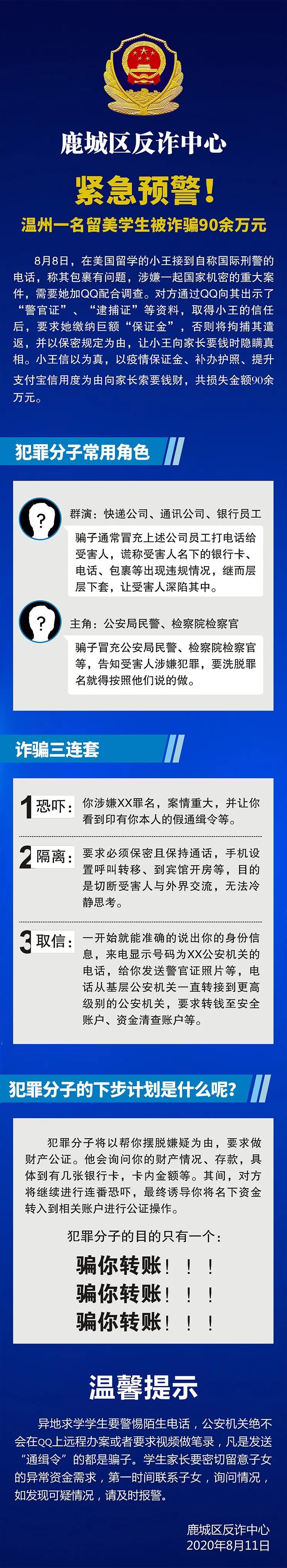 "【google分析】_温州警方:在美留学生被以""涉案将遣返""诈骗损失近百万"
