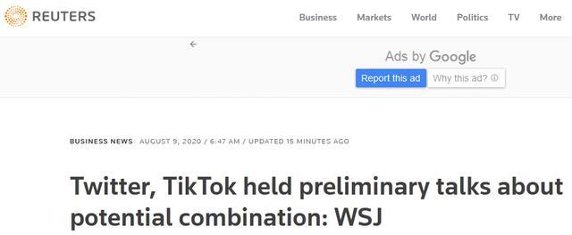 知情人士:推特已与TikTok就潜在合并进行了谈判