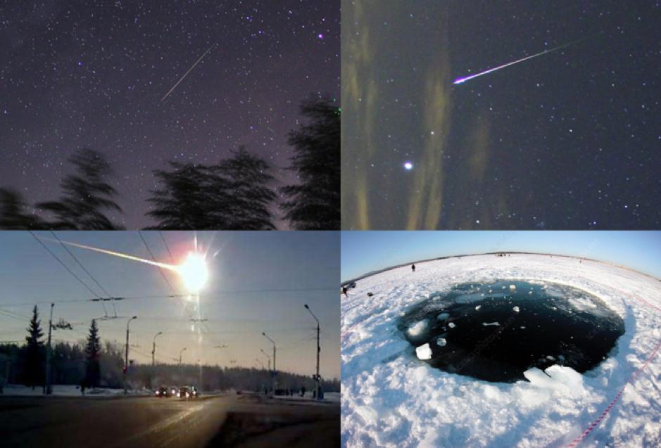 (左上:普通流星、右上:明亮的火流星、左下:2013年车里雅宾斯克小行星撞击事件、右下:小行星撞击事件在结冰的湖面上撞出的洞)  王凯翔 、网络 图