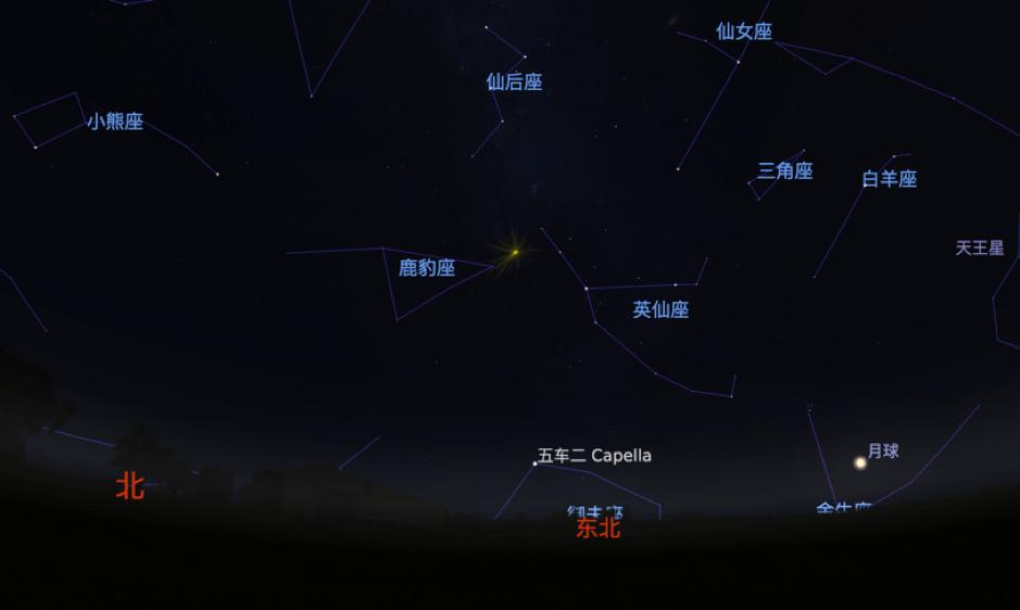 8月13日零时,英仙座流星的辐射点和月亮位置示意图 Stellarium软件截图