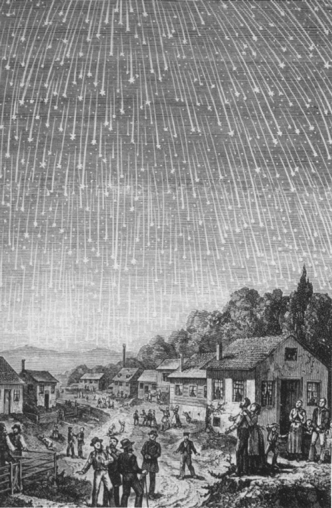 这幅木刻画作描绘了1833年的狮子座流星雨大爆发时的壮观景象,当晚的几个小时内,数十万颗流星降临地球,引起了不明真相人们的恐慌。National Geographic Courtesy of Elsevier/M. Littmann 图