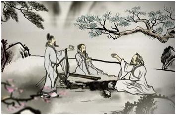 〓 李白与元丹丘山中论道绘画