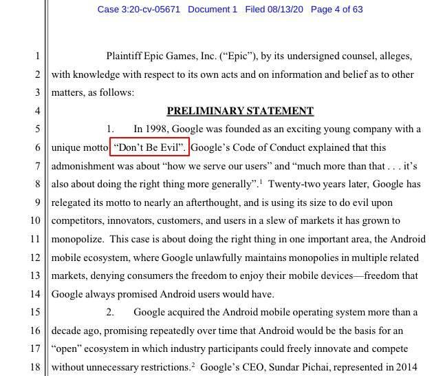 Epic 状告谷歌诉讼书