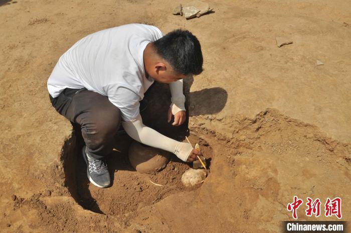 资料图:图为考古人员在现场进行考古发掘工作。山东省文物考古研究院供图
