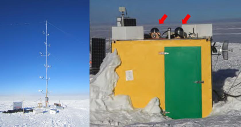 随行布置的 多层自动气象站KLAWS-2G(左) 和两台 云量极光监测仪KLCAM(右箭头所指) (图片来源:商朝晖)