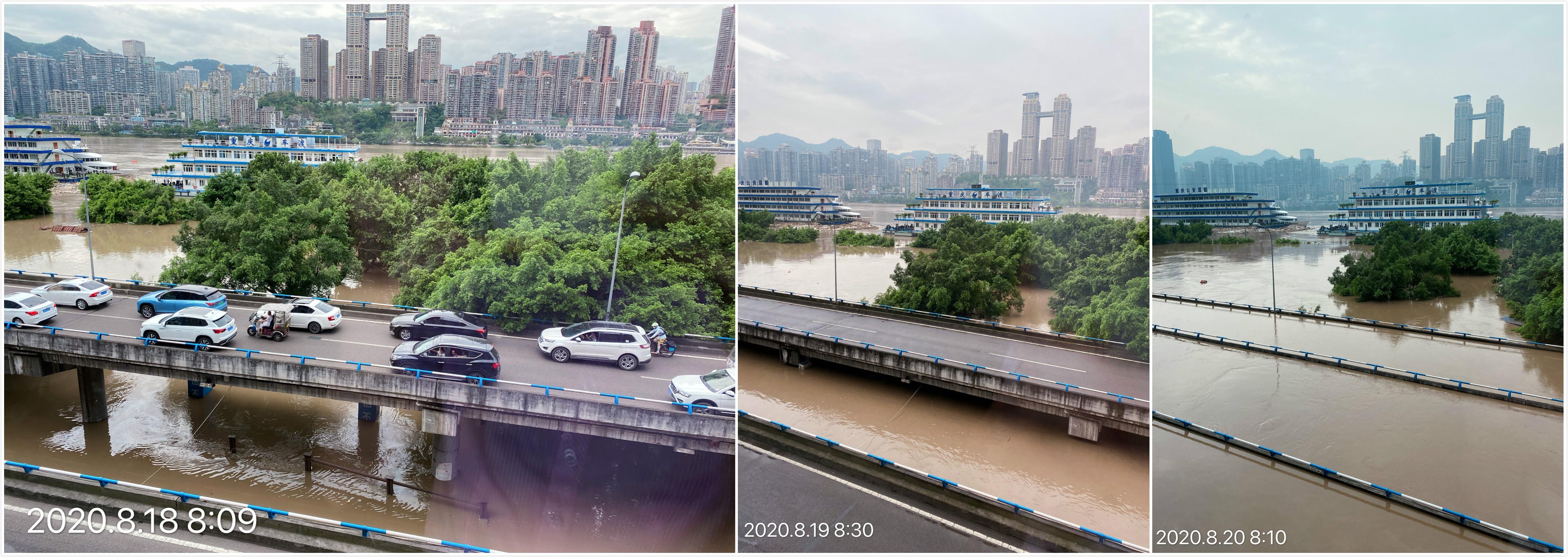 市民罗女士记录下的洪水上涨过程。受访者供图