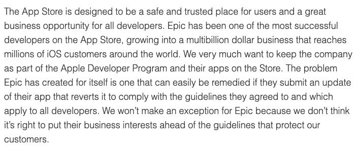 苹果发声明:问题由Epic一手造成 不会为它破例