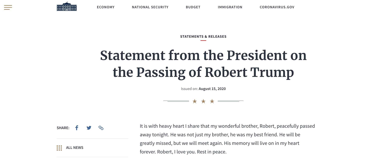 【百度关键词排名点击】_弟弟罗伯特去世,特朗普发声明悼念