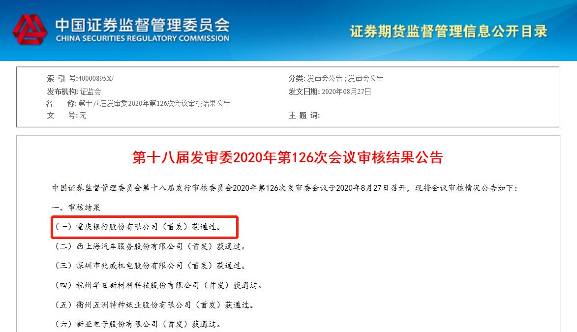 不良率高,多股东重组!重庆银行A股IPO昨夜过会