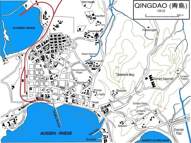 下图为1912年德租时期的青岛地图 图片源自:维基百科