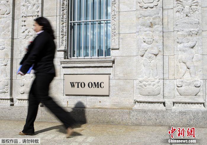 一女子在位于日内瓦的世贸组织大楼入口处前走过。资料图