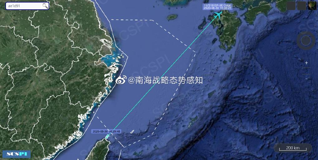 """据""""南海战略态势感知""""计划平台8月30日发布的消息美国海军EP-3E侦察机飞行轨迹"""