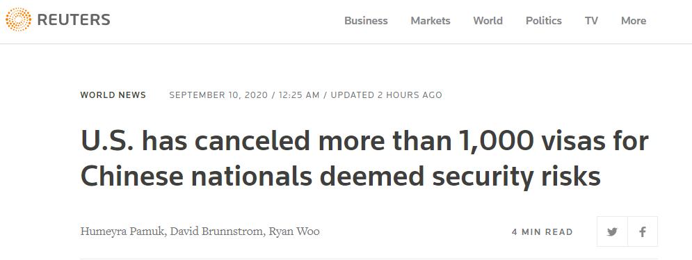 """路透社:美国已经撤销1000多名被认为存在""""安全风险""""的中国公民的签证"""