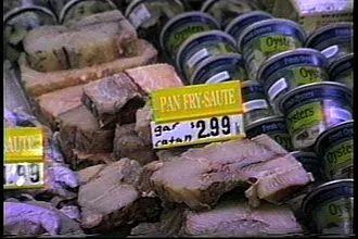 市场上的鳄雀鳝肉