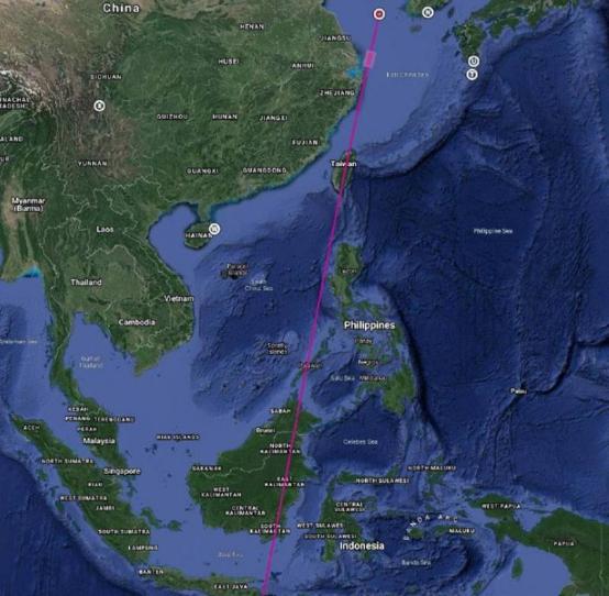 网络上流传的长征十一号火箭发射轨迹图
