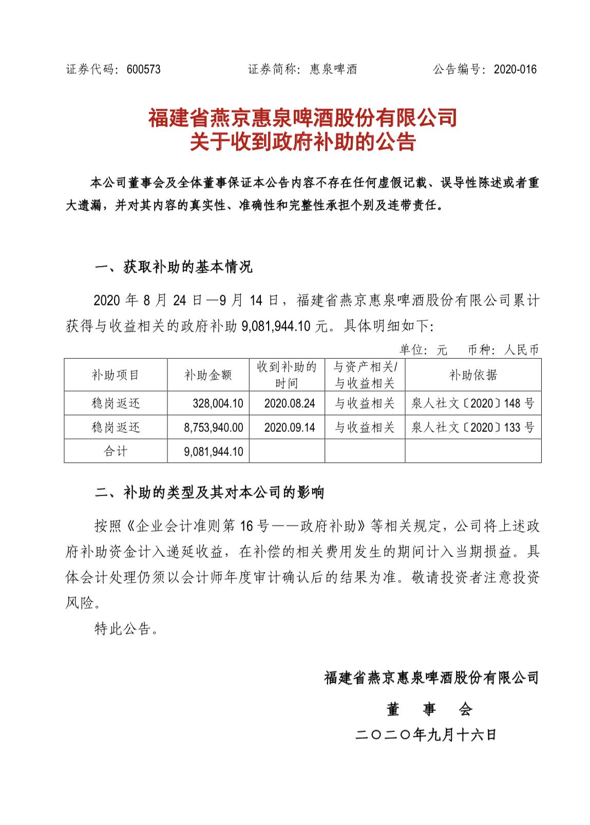惠泉啤酒近期获得与收益相关的政府补助908.19万元