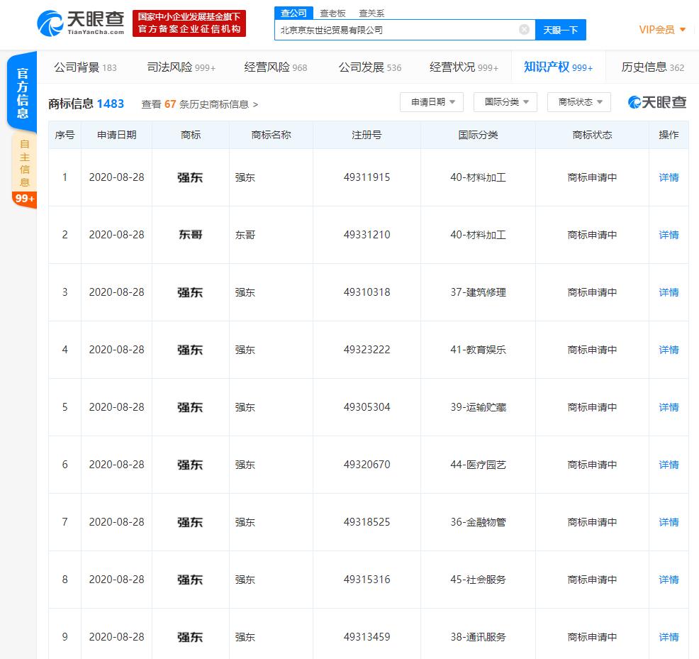 """北京京东世纪贸易有限公司申请""""东哥""""""""强东""""商标"""