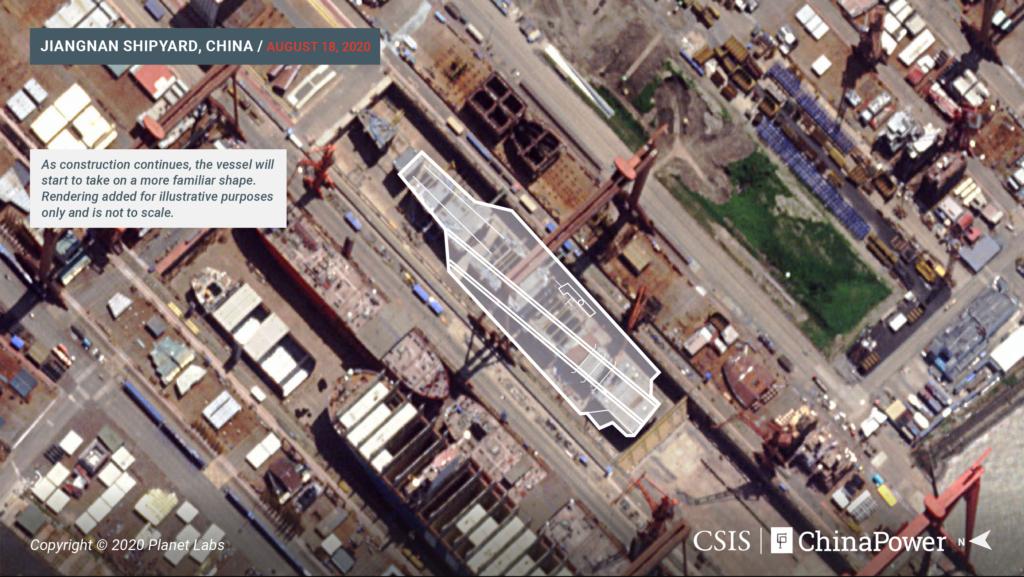CSIS中国力量小组研判的第三艘国产航母的卫星图 图源:CSIS